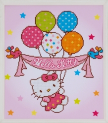 Diamond Painting Hello Kitty met Ballonnen